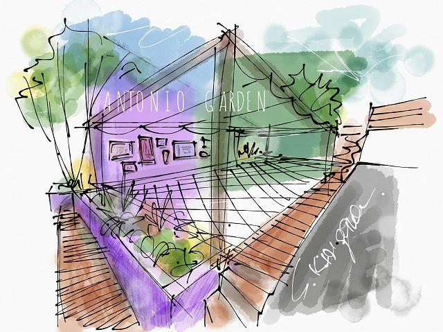 パーゴラ のある ガーデン テラス